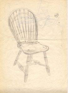 バーナード・リーチの椅子のデザイン画